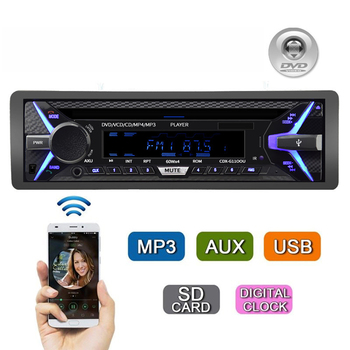 Car DVD MP3 Media Player One Din Bluetooth Music CD  Car Radio Player 12V 35W Aux Audio Output