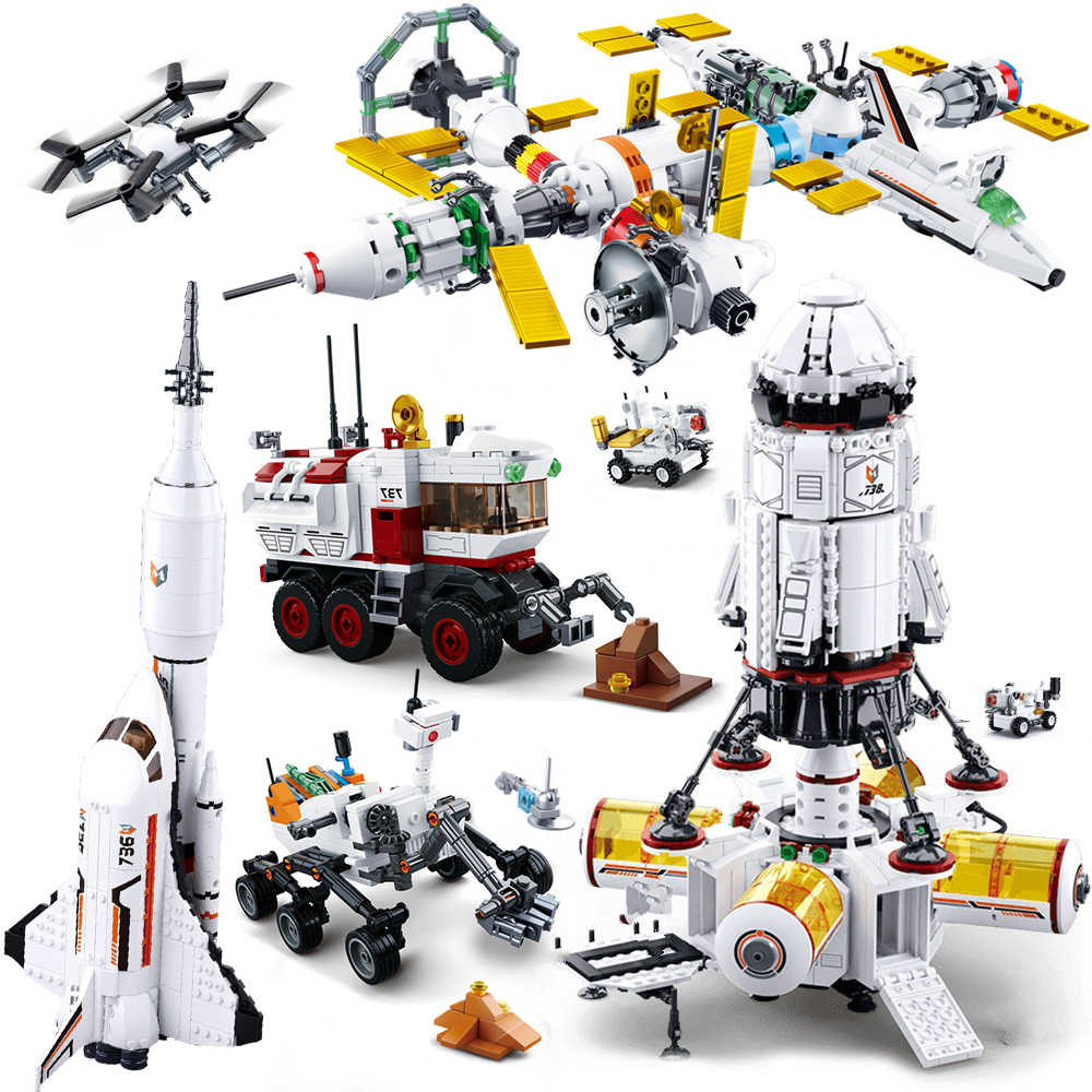 QWZ Compatibile Stazione Razzo Spaziale Astronave Space Shuttle La Nave pianta car Figure Modello Building Block regalo Di Natale