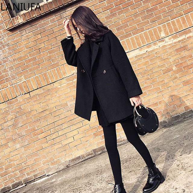 Thin Wool Blend Coat Women Coats Jackets Long Sleeve Turn-down Collar Outwear Jacket Casual Autumn Winter Overcoat Mujer P122