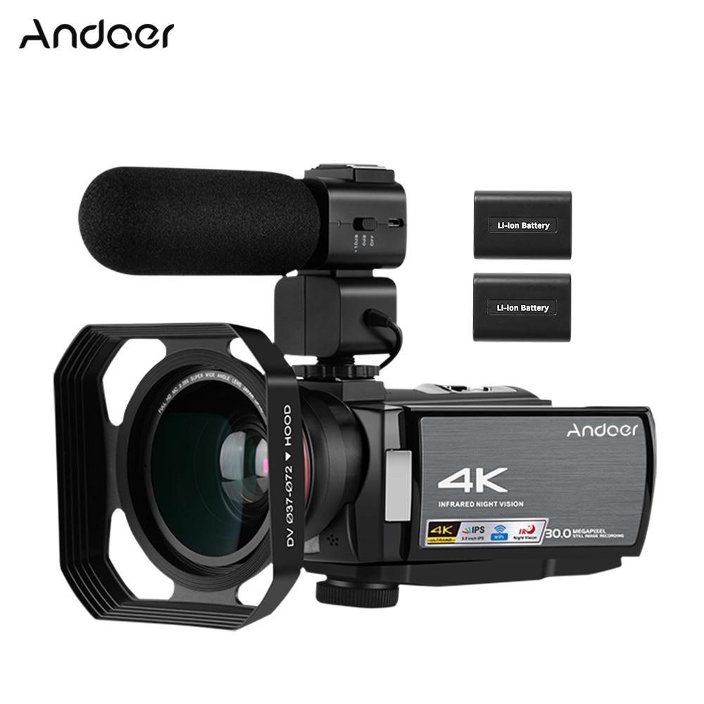 Andoer HDV-AE8 4K WiFi caméra vidéo numérique caméscope DV enregistreur 30MP 16X Zoom numérique IR Vision nocturne