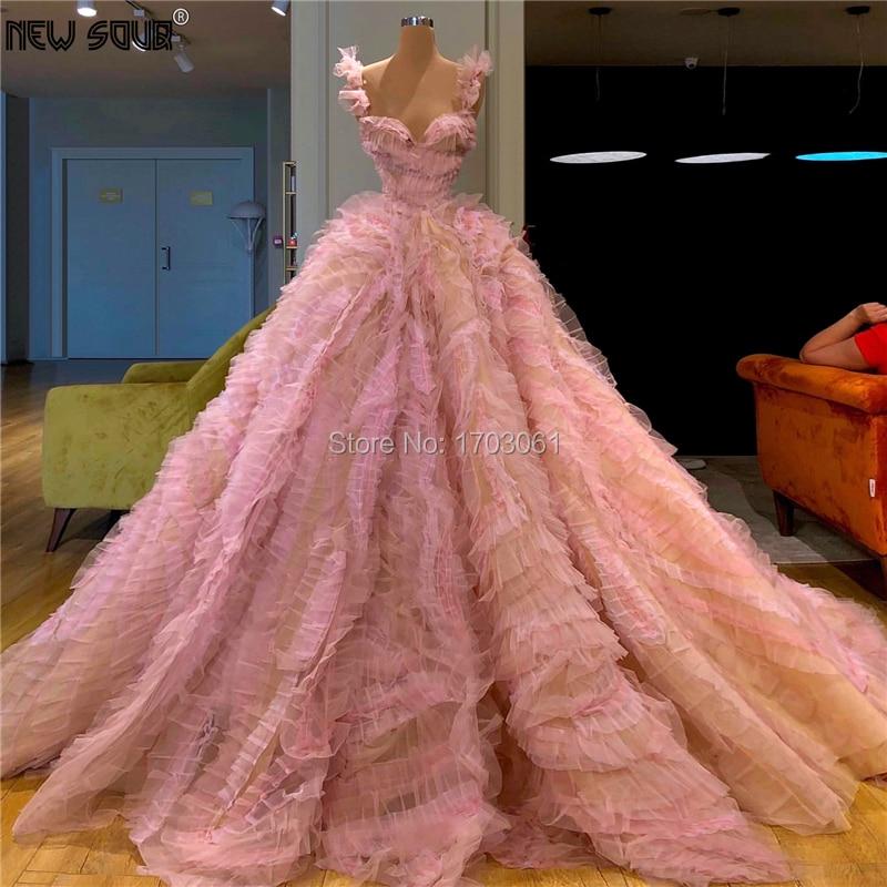 Personnalisé luxe longues robes de soirée gonflé à plusieurs niveaux turc col en V perlé robe de bal 2020 Couture arabie saoudite célébrité robes de soirée