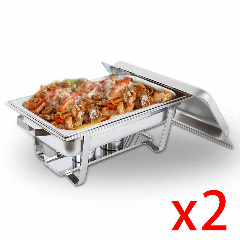 2pcs Stainless Steel Chafing Dish Server Lid Hotpot Holder Party Buffet Pan  Server Food Tray Warmer