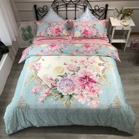 Spring Bloom Flowers Duvet cover set Brushed Cotton Bedding Set for Winter Queen/King size 4Pcs Comforter Cover Bed sheet set
