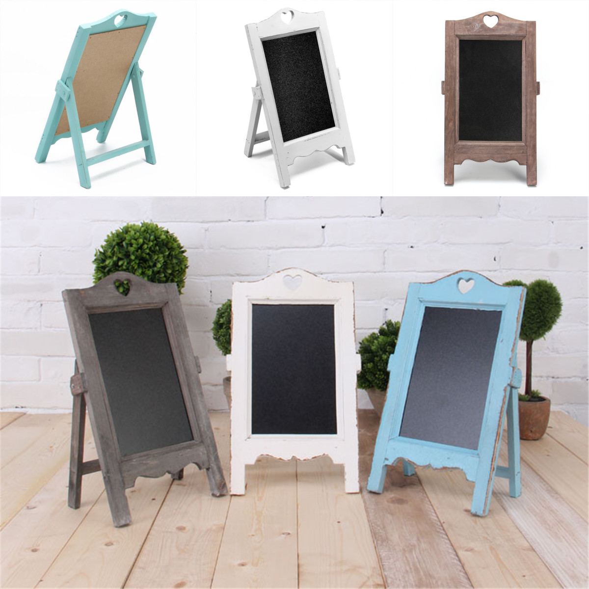 Wooden Vintage Chalk Board Blackboard Signs Memo Message Board Wedding Kitchen Notes