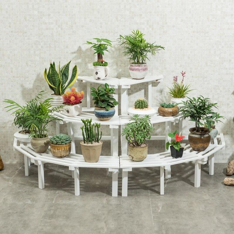 Solid Wood Corner Flower Shelf Meaty Multi-layer Indoor Space Space Floor Balcony Wooden Plant Pot Rack