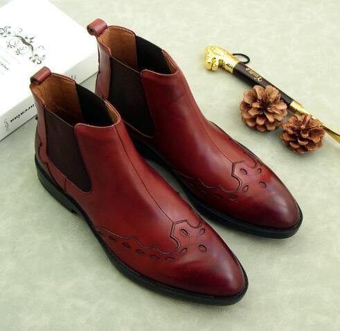2 Colour Fashion Men Slip-on Casual Boots Genuine Leather Carved  High-top Oxford Men Business Dress Boots