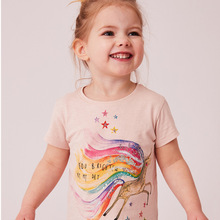 Kids Girl T Shirt Summer Baby Girl Cotton Tops Toddler Tees Clothes Children Clothing Unicorn T-shirts Short Sleeve Casual Wear