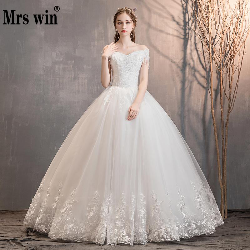 Mrs Win Wedding Dress Sexy V-neck Floor-length Lace Up Ball Gown Off The Shoulder Princess Luxury Wedding Dresses Wedding Gowns