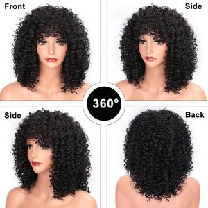 Image 5 - ELEGANT MUSES Synthetic Short Hair Afro Kinky Curly Wig for Women Black Hair High Temperature Fiber Mixed Brown and Blonde Color