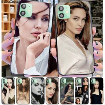 Angelina Jolie Phone Case Black TPU For iphone 12 pro max 11 pro XS MAX 8 7 6 6S Plus X 5 5S SE 2020 XR case image