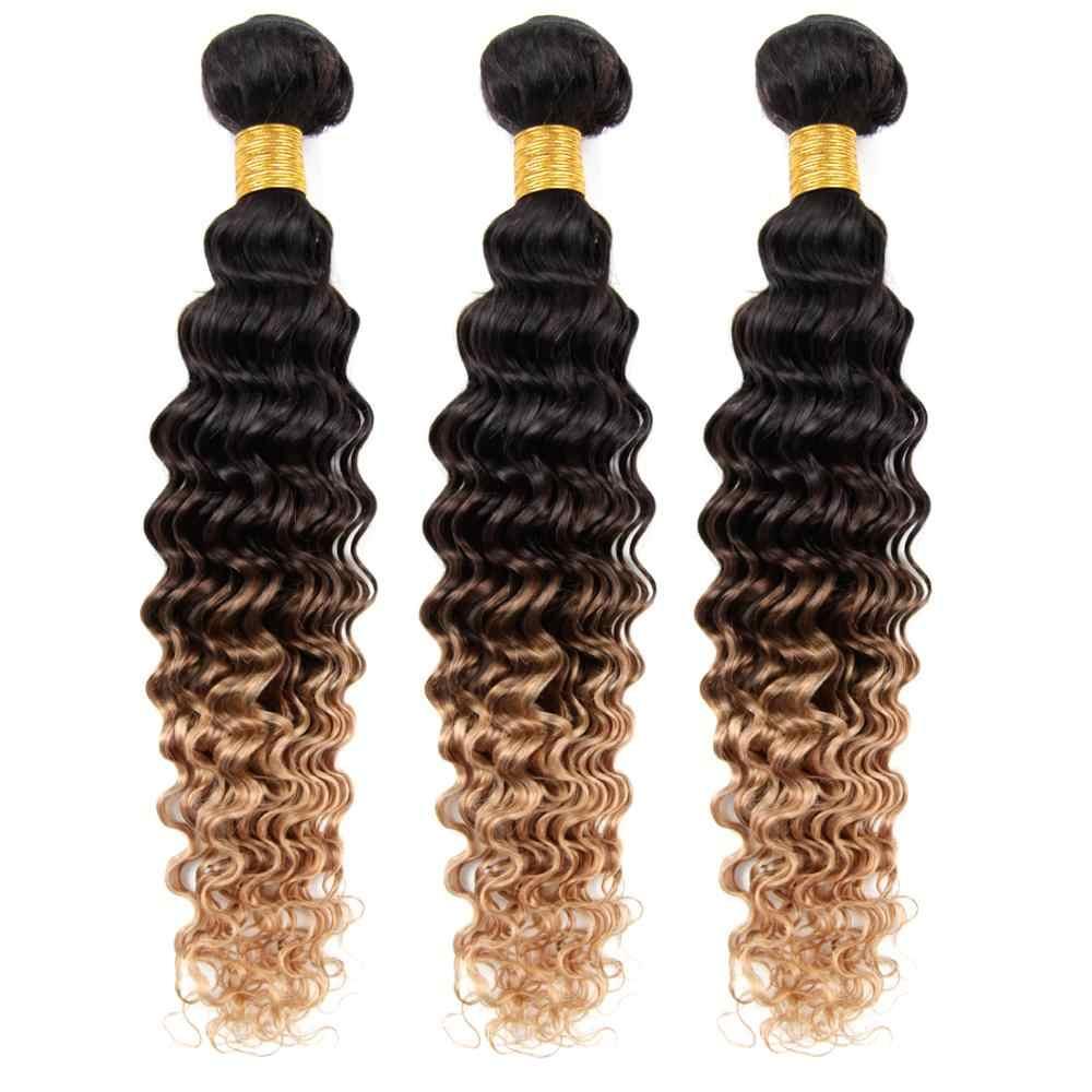 Ombre pacotes de cabelo humano com fechamento 3 tom cor onda profunda com fechamento t1b/4/30 extensões tecer cabelo remy brasileiro