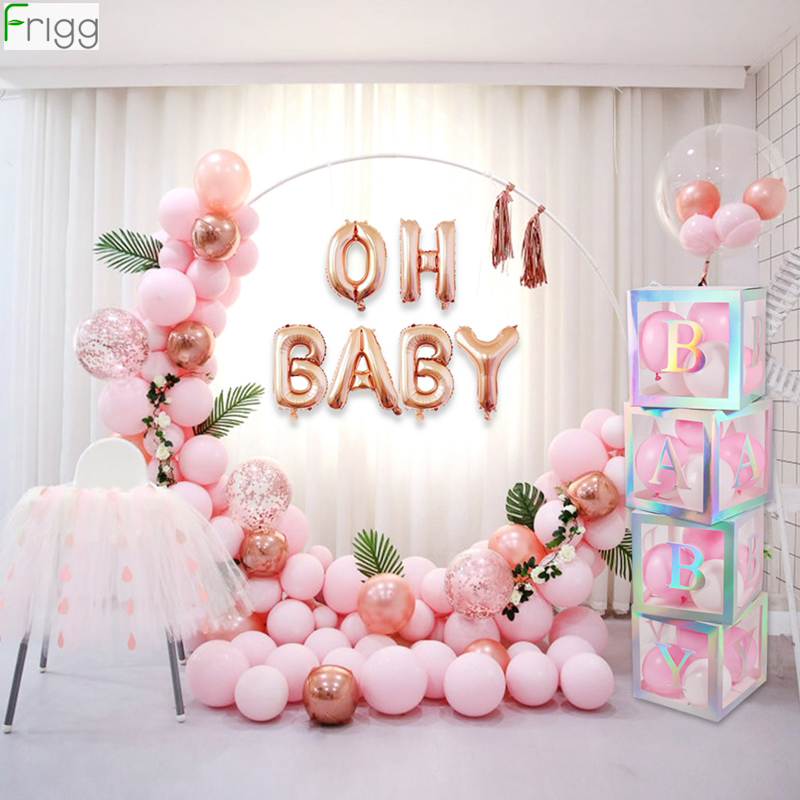 Laser Baby Box Colorful Transparent Baby Letter Box Baby Shower Decorations Girl Babyshower 1st First Birthday Girl Party Decor