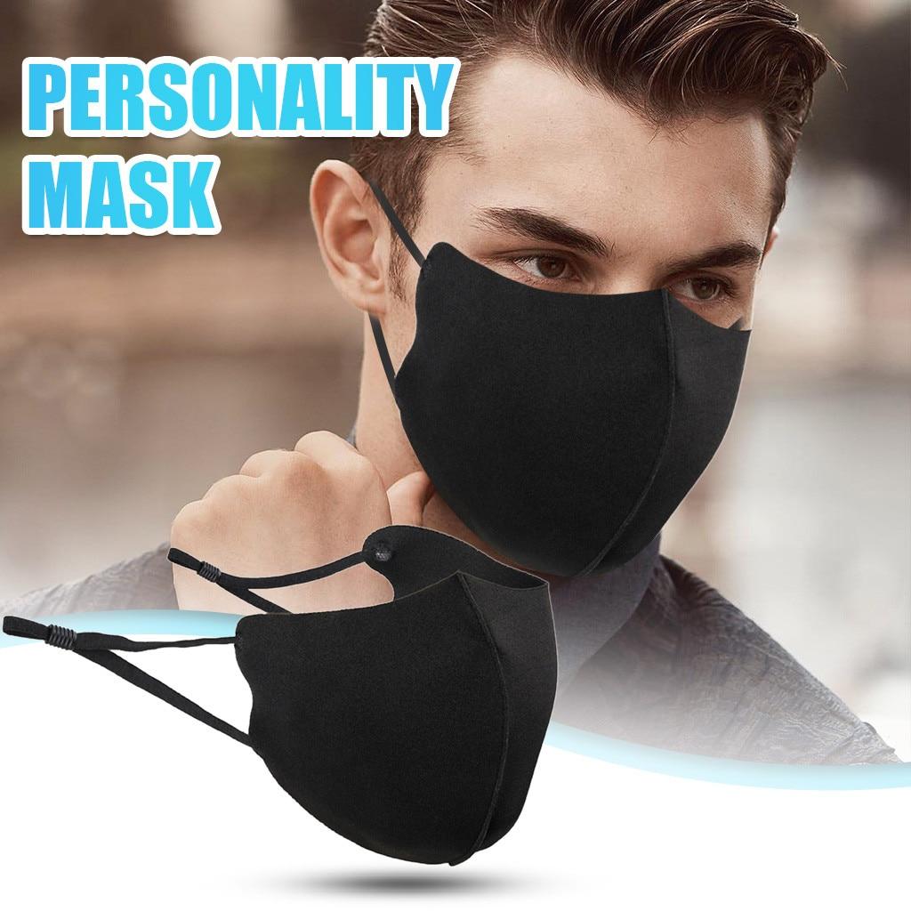 Стирающаяся маска для лица унисекс, хлопковая черная маска для взрослых, карбоновая Регулируемая Пылезащитная маска для лица
