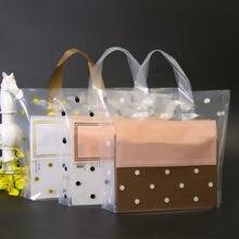 50 pces grossos grandes sacos de plástico com alça transparente branco redondo pontos saco de presente roupas jóias loja sacos de embalagem de compras