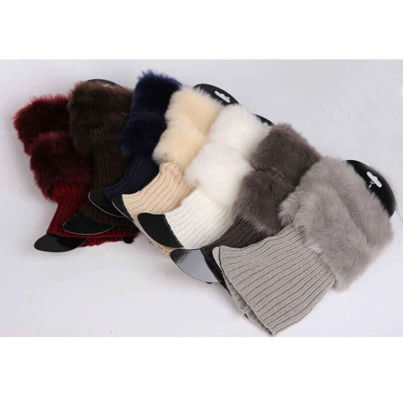 Womens Winter Gebreide Boot Manchetten Fur Knit Toppers Boot Sokken Benen Warmers ONS