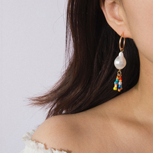 SalirCon Bohemian Long Tassel Earrings Water Drop Shape Imitation Pearl Multiple Color Beads Woman Party Jewelry