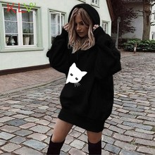 Women Sweatshirt Cat Print Hoodies Long Dress Pullover 2019 Winter Fall Kpop Streetwear Moletom Casual Hoody Ladies Clothes 19Ag(China)