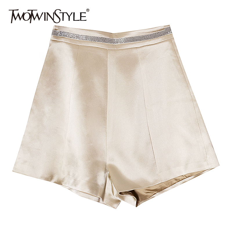 TWOTWINSTYLE Vintsge Satin Women Shorts High Waist Patchwork Sqauined Hit Color Loose Short Pants Female Clothes 2020 Spring New
