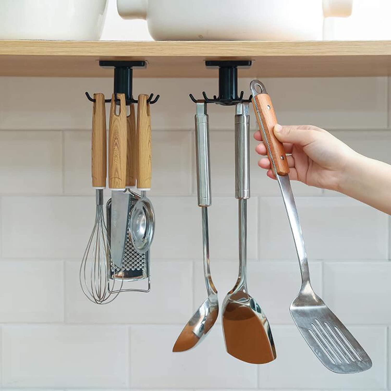 6 крючков Кухня шкаф-органайзер для кухни Кухня Органайзер аксессуары для дома 360 градусов вращающийся шкаф вешалки посуда для Кухня удобст...