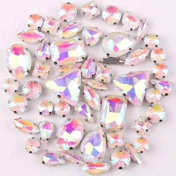Ustawienie srebrnym mocowaniem jelly candy White AB 50 sztuk worek kształty mieszane szkło kryształowe szyć na sukni ślubnej rhinestone torba na buty diy tanie i dobre opinie SNCRYSTAL Luźne dżety strasy Naszywka Shapes mix flatback DO ODZIEŻY Bags