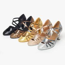Ushine каблук 7 см/5 см золотые блестящие zapatos Сальса mujer