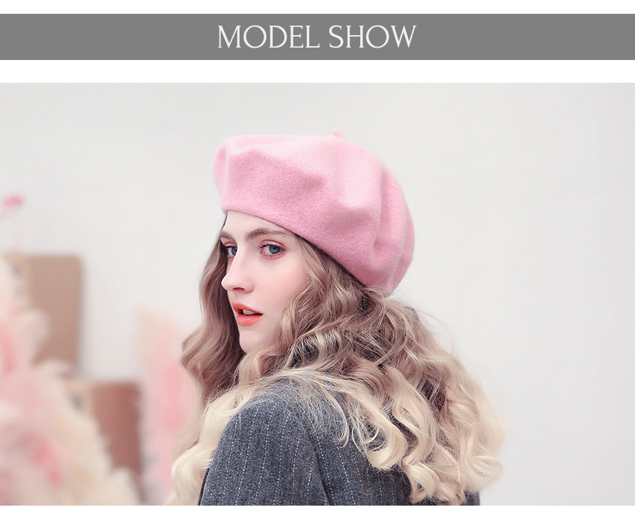 28d4af7a6 Fashion Girls Wool Beret Hat Women French Style Berets Pink Warm ...
