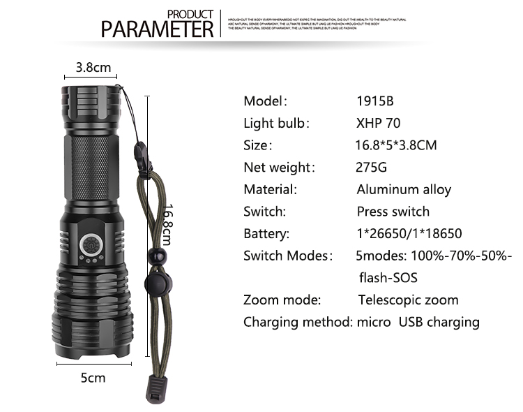 LED Flashlight XHP50 Rechargeable