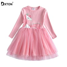DXTON Girls Dresses Toddler Girls Unicorn Clothes Kids Dress For Girl Winter Princess Dress Costume Children Cotton Clothes amya baby girls winter dress thicken warm faux fur vest toddler girl dress 2pcs princess costume kids clothes tutu girls dresses