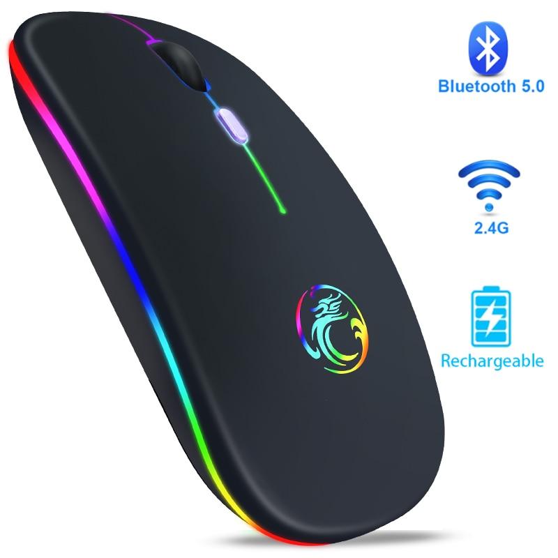 Беспроводная мышь Bluetooth RGB мышь перезаряжаемая компьютерная мышь Бесшумная эргономичная компьютерные мыши с подсветкой USB оптическая мышь ...