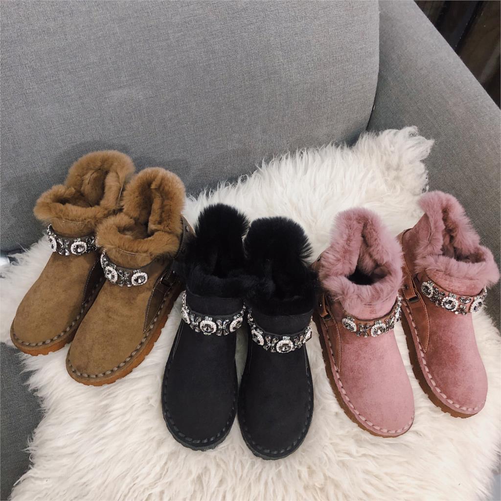 Flat bottom plus velvet warm cotton shoes snow boots women short tube 2019 platform casual boots winter out fashion short boots 38