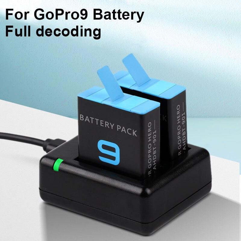 Pour go pro hero 9 chargeur de batterie/pour GoPro hero 9 noir Li-ion AHDBT-901 accessoires de caméra Batteria