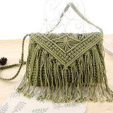 Vintage Hippie Boho People Fringe Tassels Handbag Knitted Crossbody Bag Tote цена 2017