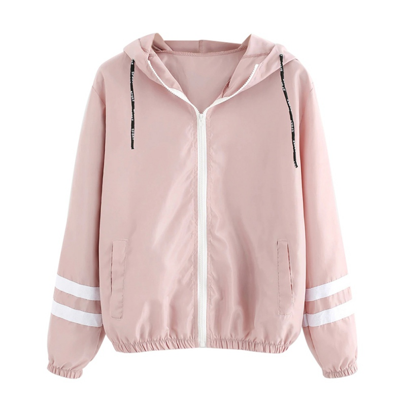 Girls Autumn Winter New  Jacket Loose Thin Section Zipper Hooded Drawstring Long Sleeve Coat