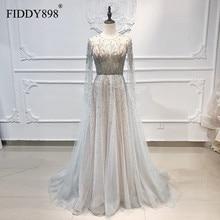 יוקרה שמלת ערב ארוך סקופ טול אונליין קריסטל חרוזים שמלה לנשף 2020 דובאי ערב שמלה עם קייפ Vestidos דה פיאסטה