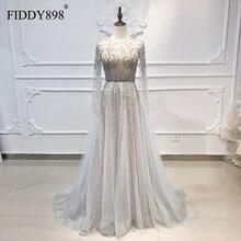 Luxe Avondjurk Lange Scoop Tulle A lijn Crystal Kralen Prom Dress 2020 Dubai Avondjurk Met Cape Vestidos De Fiesta