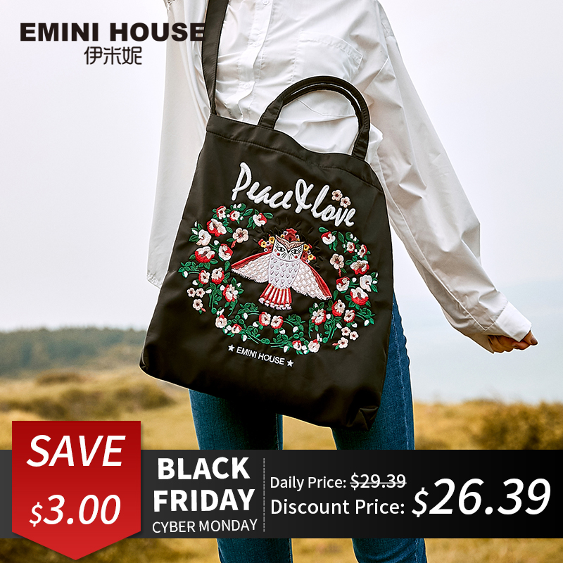 EMINI HOUSE Embroidery High Capacity Shopping Bag Foldable Women Tote Bag Crossbody Bags For Women Shoulder Bag Roomy Handbag