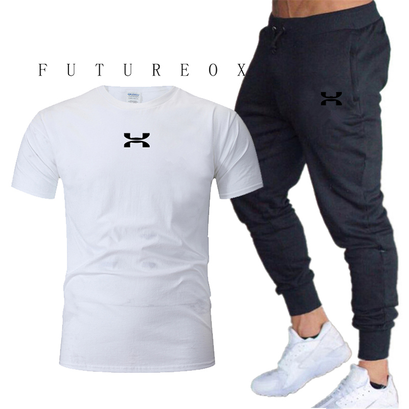 Men's short-sleeved sports suit 2 T-shirts + pants 100% cotton casual running sports suit spring and summer fitness climbing spo
