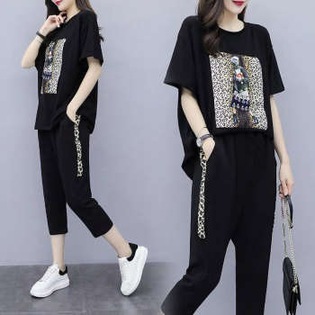 Summer Women's Black Oversize Tracksuits Casual Pantsuit Set Short Sleeve Tops Fashion Sportswear Calf-Length Pants Size 5XL 1