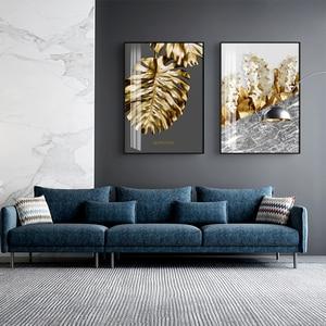Настенная картина на холсте, Постер в скандинавском стиле с изображением золотых абстрактных листьев, цветов, черных и белых перьев, украшение для гостиной