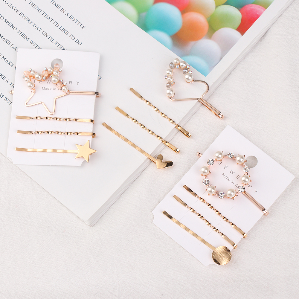 1 Set Irregular Minimalist Metal Hair Clip Geometric Gold Color Hairclips Imitiation Pearl Korea Hairpin Barrettes Hairgrip