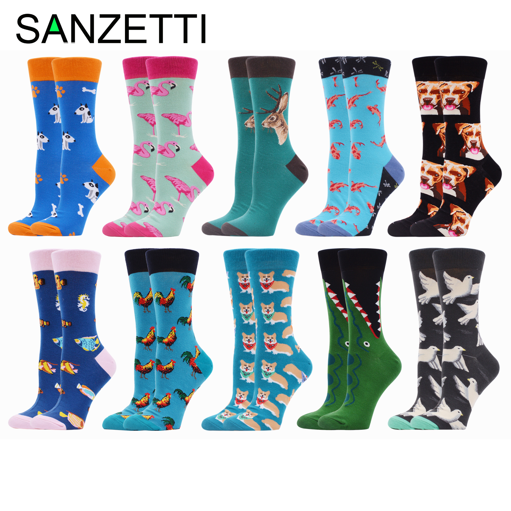 SANZETTI 10 Pairs Women Combed Cotton Socks Crocodile Colorful Happy Animal Pattern Novelty Wedding Bright Gifts Dress Socks
