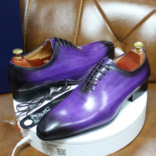 Oxfords Men Dress-Shoes Whole-Cut Italian Party Purple Blue Genuine-Leather