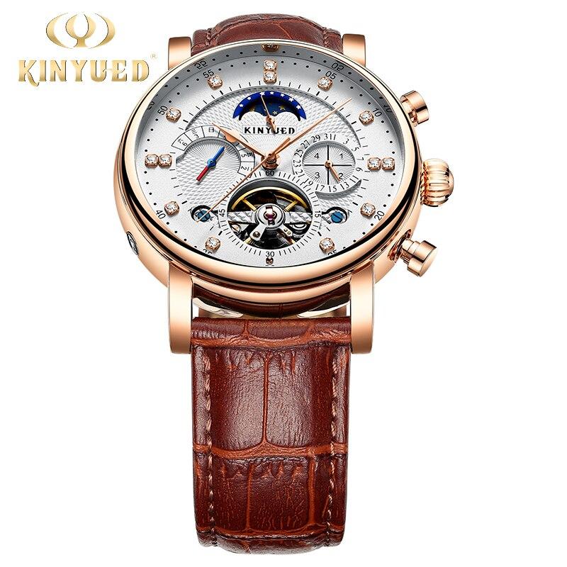 Original KINYUED montre hommes automatique mécanique montre mode décontracté affaires hommes soleil lune mâle horloge Steampunk montre-bracelet