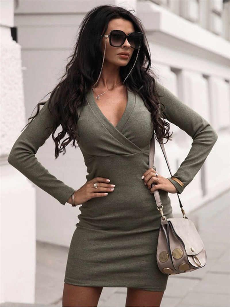 Elegante moda feminina manga longa profundo v neck jumper vestido senhoras inverno bodycon magro curto mini lápis vestidos 2019