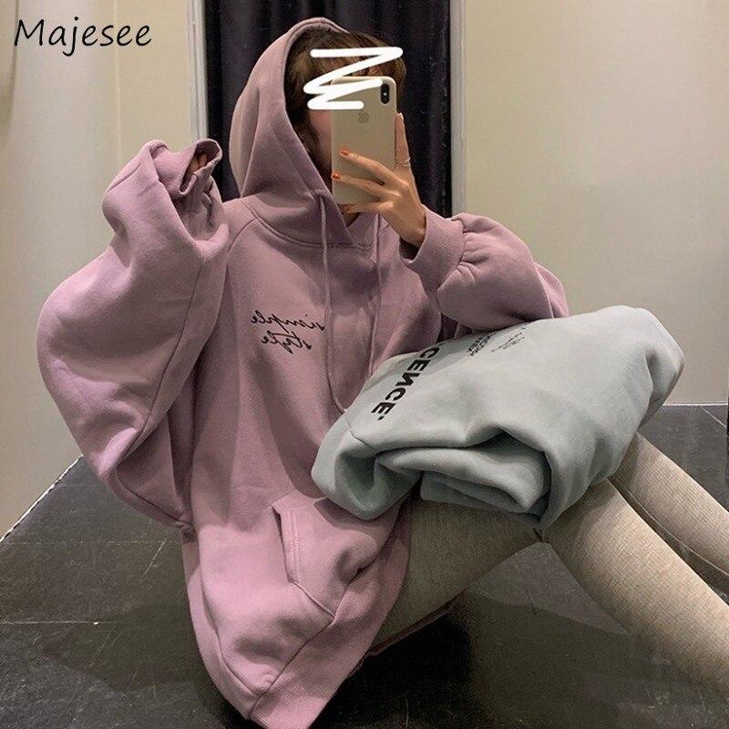 Hoodies Women Clothes Winter Plus Velvet Big Size Harajuku Top Womens Clothing Oversized Hoodie Hot Sale Korean Sweatshirt Warm