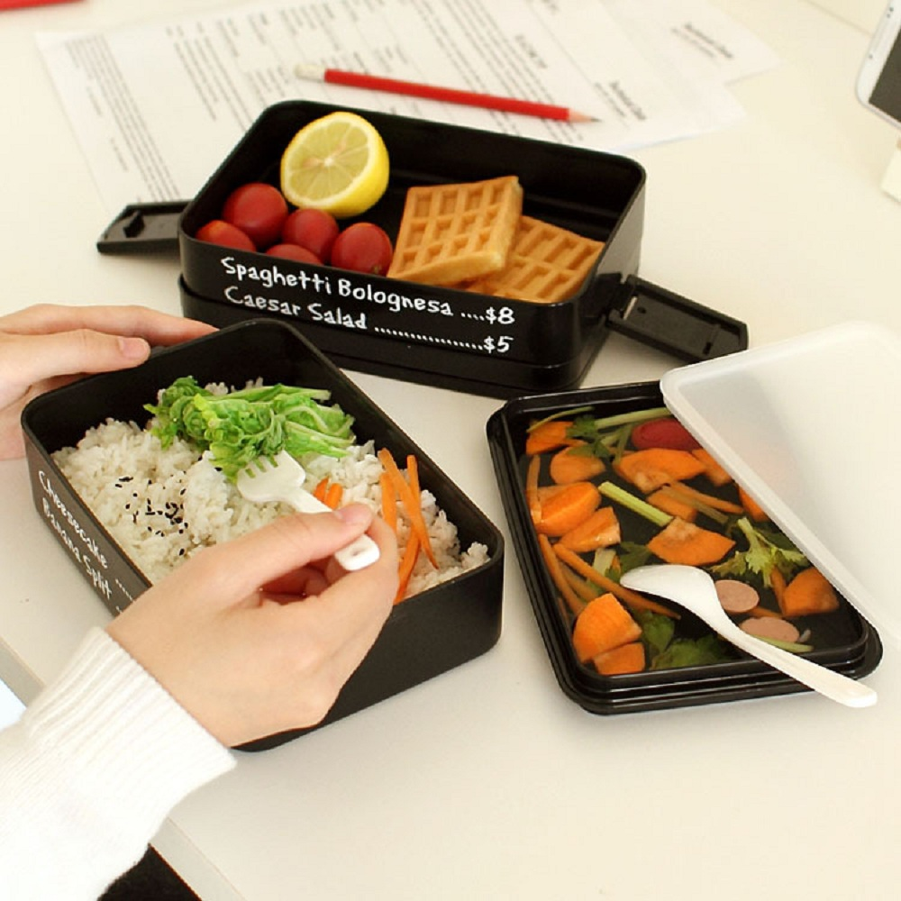 Lunch Box Double Layer Portable Bento Box Microwaveable Food Container With Compartments Black Lunchbox Leakproof Bpa Free