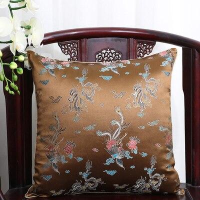 Чехол для подушки для автомобильного стула с цветами 40x40 см 45x45 см 50*50 60*60 китайские красочные диванные Декоративные Чехлы для подушек, шелковая атласная наволочка - Цвет: coffee