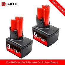 Для Milwaukee XC 48-11-2401 M12 аккумулятор 12 вольт 9,0 а компактный литий-ионный аккумулятор с защитой от перегрузки для беспроводного питания
