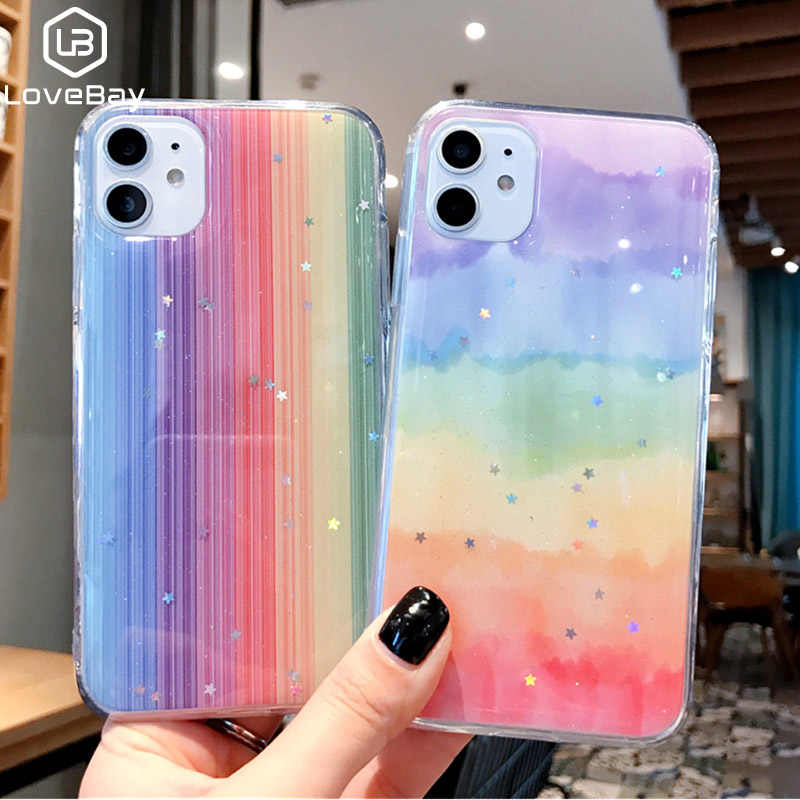 Lovebay Glitter Bling Stars Colorful Phone Case For iPhone 11 Pro Max X XR Xs Max Soft TPU Back Cover For iPhone 6 6s 7 8 Plus