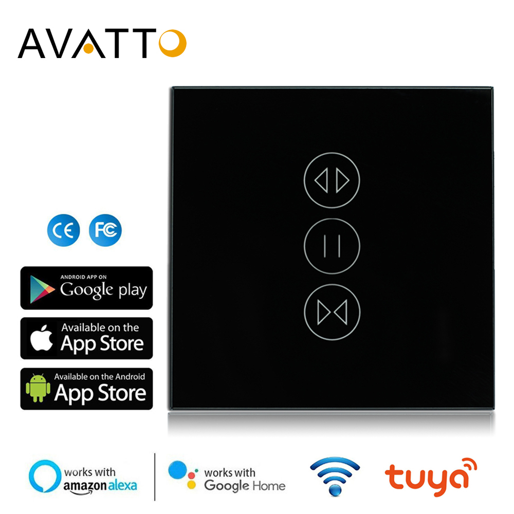 AVATTO Tuya Smart WiFi Curtain Switch, EU Electrical Touch Blinds Interruptor Persiana Switch Work With Google Home,Alexa Echo